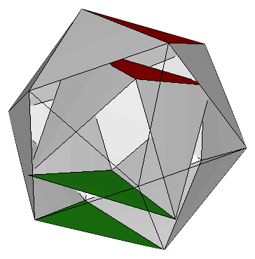 Moon model octahedron inside icosahedron with parallel faces