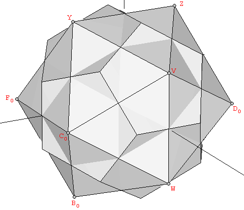 Dodecahedron and icosahedron superimposed