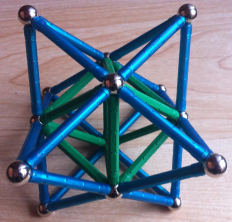 Tetrahedra helix with volume eleven reorganised as a Stellated Octahedron
